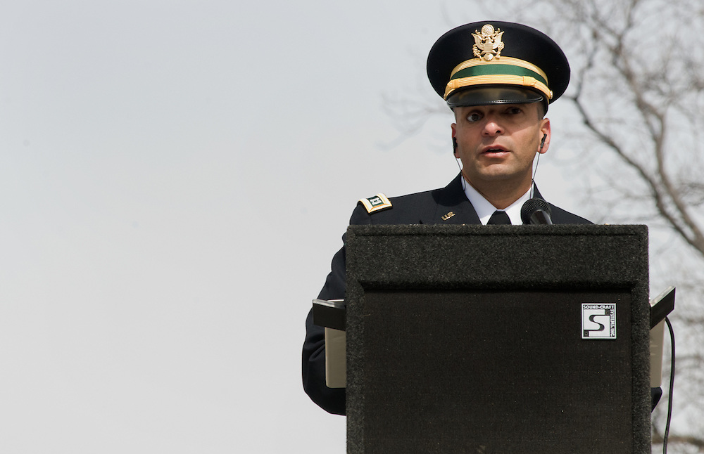 ARLINGTON, Virginia (March 28, 2011) -- U.S. Army Capt. Ivan Castro speaks during a remembrance ceremony at Arlington National Ceremony.  The event was held for family from around the country and for service members from all branches who gathered to honor 262 fallen medical service members who died in battle.  The Military Health System has hosted this event since 2009 and serves to bring families together who've lost loved ones that served as doctors, nurses, medics, corpsman and other medical personnel.  Photo by Johnny Bivera