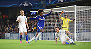 Willian looks to block the clerance during the Champions League group stage match between Chelsea and Dynamo Kiev at Stamford Bridge, London, England on 4 November 2015. Photo by Michael Hulf.