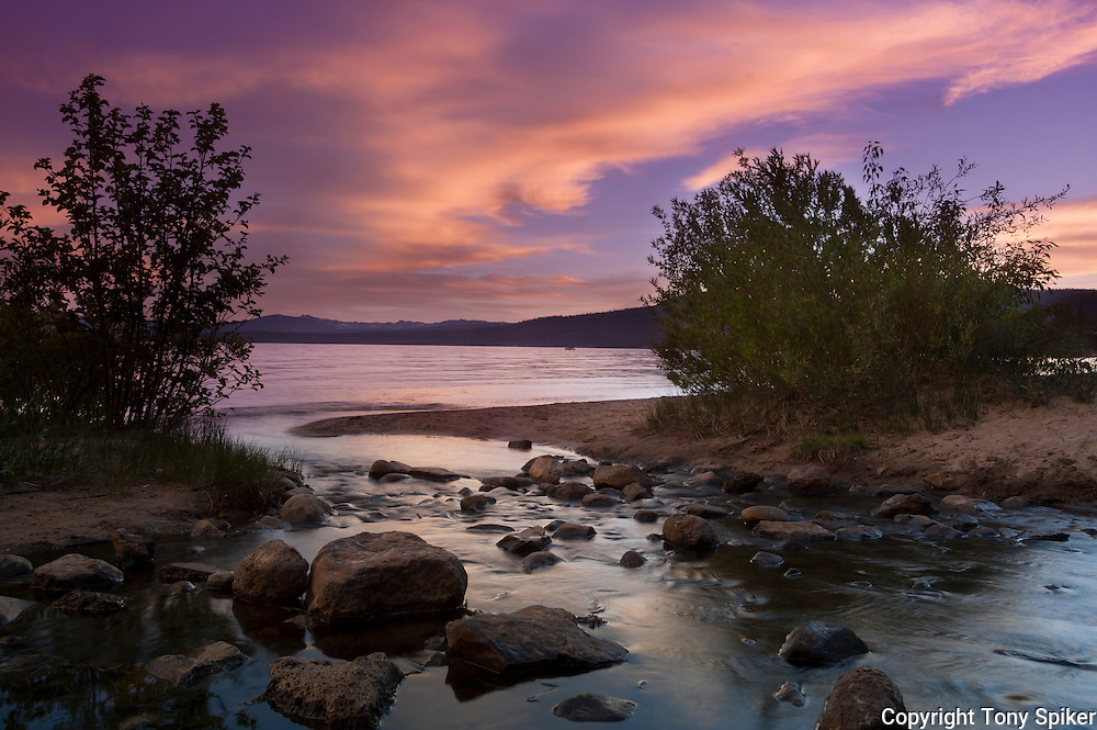 """Kings Beach Sunset at Griff Creek 1"" - This photograph was taken at sunset where Griff Creek flows into Lake Tahoe at Secline Beach"
