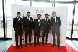 LIVERPOOL, ENGLAND - Thursday, May 12, 2016: Liverpool's Kevin Stewart, Joe Gomez, Jordon Ibe, Daniel Sturridge and goalkeeper Adam Bogdan arrive on the red carpet for the Liverpool FC Players' Awards Dinner 2016 at the Liverpool Arena. (Pic by David Rawcliffe/Propaganda)