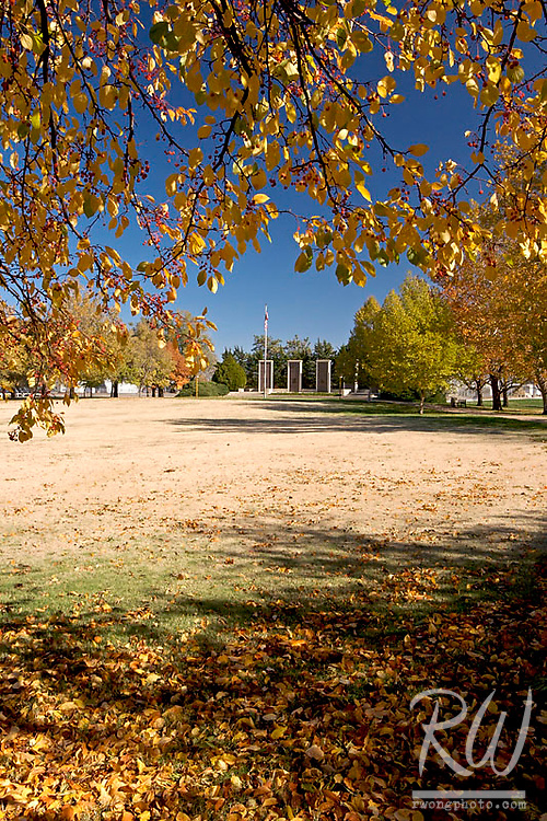 Fall Foliage Framing Eisenhower Memorial, Dwight D. Eisenhower Presidential Museum and Library, Abilene, Kansas
