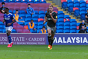 Sheffield Wednesday's Jordan Rhodes (20), scorer of his sides second goal during the EFL Sky Bet Championship match between Cardiff City and Sheffield Wednesday at the Cardiff City Stadium, Cardiff, Wales on 12 September 2020.