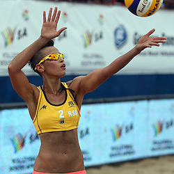 DURBAN, SOUTH AFRICA - DECEMBER 11: Sheana-Alice Abrahams of RSA action during the FIVB Durban Open at New Beach on December 11, 2013 in Durban, South Africa.  (Photo by Steve Haag/Getty Images for FIVB)