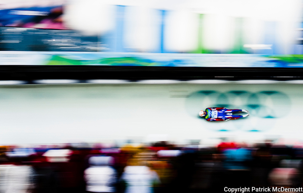 Ondrej Hyman of the Czech Republic competes in the Men's Single Luge competition during the 2010 Vancouver Winter Olympics at the Whistler Sliding Centre in Whistler, Canada, on Feb. 14, 2010.