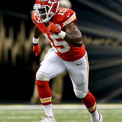 Aug 9, 2013; New Orleans, LA, USA; Kansas City Chiefs wide receiver Terrance Copper (15) against the New Orleans Saints during a preseason game at the Mercedes-Benz Superdome. The Saints defeated the Chiefs 17-13. Mandatory Credit: Derick E. Hingle-USA TODAY Sports