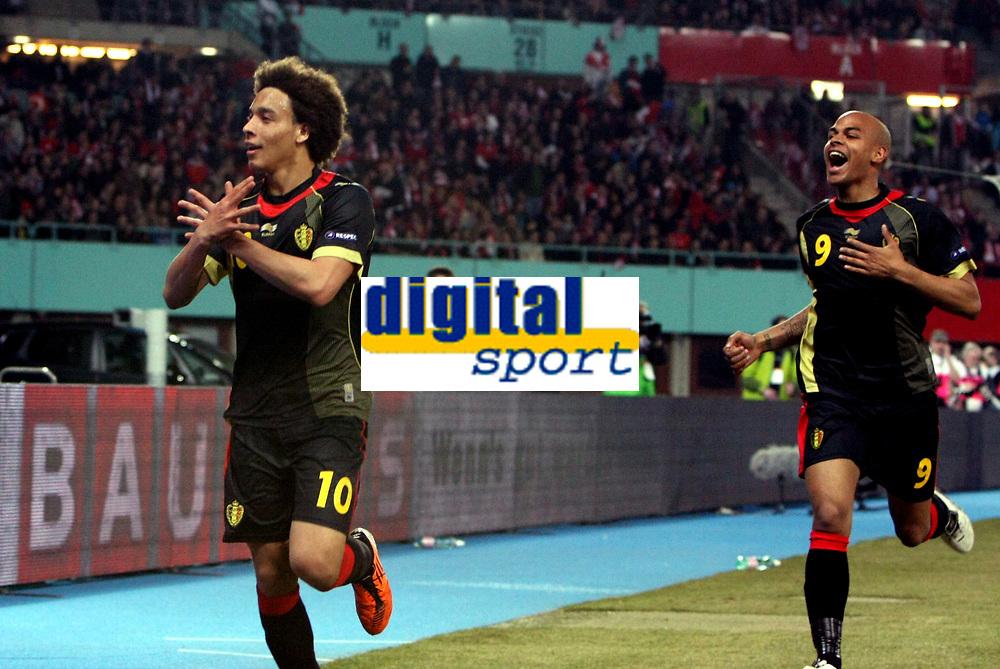 Fotball<br /> EM-kvalifisering<br /> Østerrike v Belgia<br /> 25.03.2011<br /> Foto: Gepa/Digitalsport<br /> NORWAY ONLY<br /> <br /> Bild zeigt den Jubel von Axel Witsel und Marvin Ogunjimi (BEL).