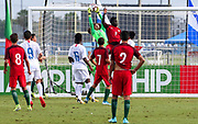 Team USA goalkeeper Edgar Alguera Mercado (12) makes a save on a corner kick from Portugal midfielder during a CONCACAF boys under-15 championship soccer game, Saturday, August 10, 2019, in Bradenton, Fla. Portugal defeated Team USA 3-0 and advanced to the finals against Slovenia. (Kim Hukari/Image of Sport)