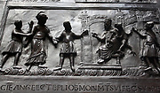 Detail from Bronze doors with scenes from the Old and New Testament in relief. Made at the order of St. Bernward, and set up by him in 1015 at St. Michael's Church, Hildesheim. They were since taken to the cathedral by his successor. This panel shows Christ before Pilate.
