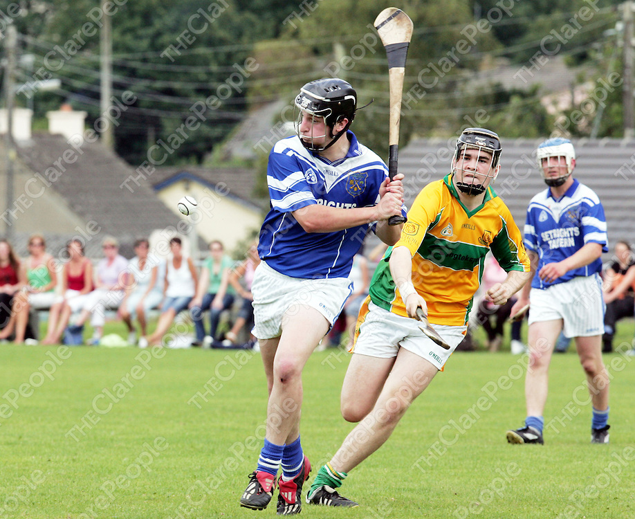 Feakle V Cratloe at Broadfords GAA pitch on Saturday 5th August. Pictured is Cratloe's Philip Gleason hitting the ball while Gary Guilfoyle tries to get it back from behind.<br />Pic. Emma Jervis/ press 22