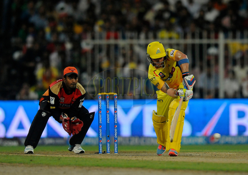 Brendon McCullum of The Chennai Superkings bats during match 16 of the Pepsi Indian Premier League 2014 between the Delhi Daredevils and the Mumbai Indians held at the Sharjah Cricket Stadium, Sharjah, United Arab Emirates on the 27th April 2014<br /> <br /> Photo by Pal Pillai / IPL / SPORTZPICS