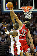 Apr 19, 2010; Cleveland, OH, USA; Cleveland Cavaliers forward Antawn Jamison (4) fights for a rebound with Chicago Bulls center Joakim Noah (13) during the first period in game two in the first round of the 2010 NBA playoffs at Quicken Loans Arena. Mandatory Credit: Jason Miller-US PRESSWIRE