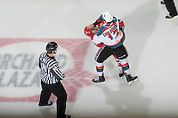 KELOWNA, CANADA - JANUARY 16:  Tyrell Goulbourne #12 of the Kelowna Rockets gets in the face of an opposing player of the Spokane Chiefs at the Kelowna Rockets on January 16, 2013 at Prospera Place in Kelowna, British Columbia, Canada (Photo by Marissa Baecker/Shoot the Breeze) *** Local Caption ***