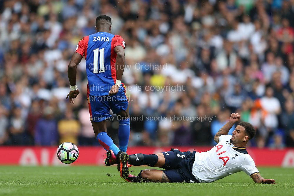 Wilfried Zaha of Crystal Palace goes past the tackle from Kyle Walker of Tottenham Hotspur. Premier league match, Tottenham Hotspur v Crystal Palace at White Hart Lane in London on Saturday 20th August 2016.<br /> pic by John Patrick Fletcher, Andrew Orchard sports photography.