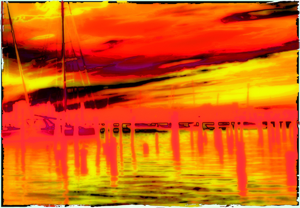 Abstract poloraid transfer, Sailboats at Dawn.  Red, Orange, Yellow, Black, Majenta