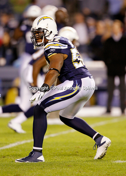 San Diego Chargers linebacker Larry English (52) makes a move during the NFL week 11 football game against the Denver Broncos on Monday, November 22, 2010 in San Diego, California. The Chargers won the game 35-14. (©Paul Anthony Spinelli)