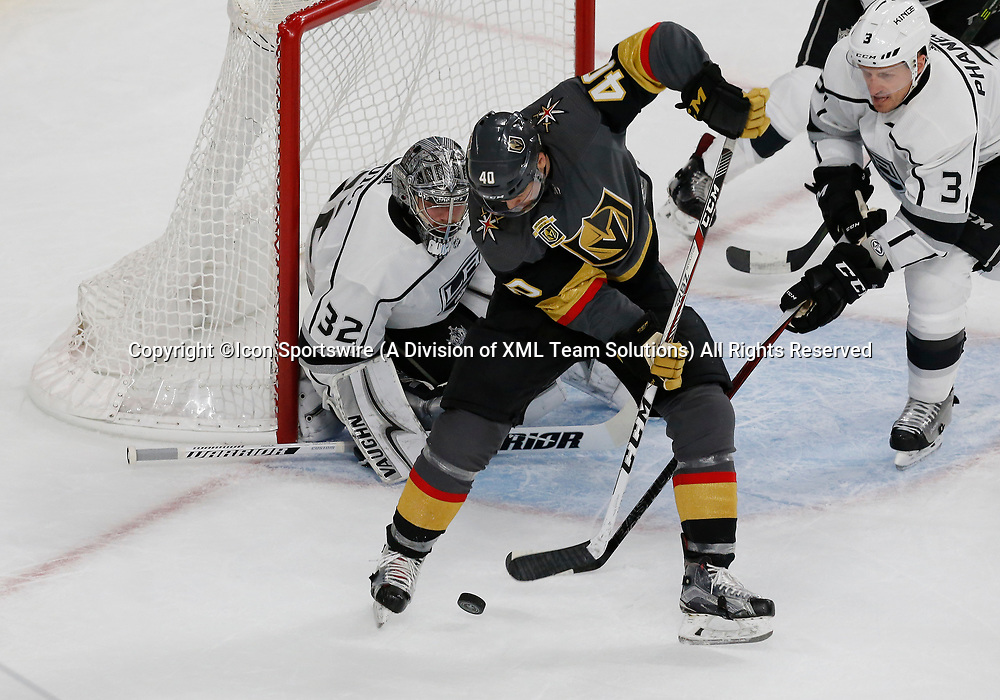 LAS VEGAS, NV - APRIL 11: Vegas Golden Knights center Ryan Carpenter (40) shoots the puck during Game One of the Western Conference First Round of the 2018 NHL Stanley Cup Playoffs between the L.A. Kings and the Vegas Golden Knights Wednesday, April 11, 2018, at T-Mobile Arena in Las Vegas, Nevada. The Golden Knights won 1-0.  (Photo by: Marc Sanchez/Icon Sportswire)