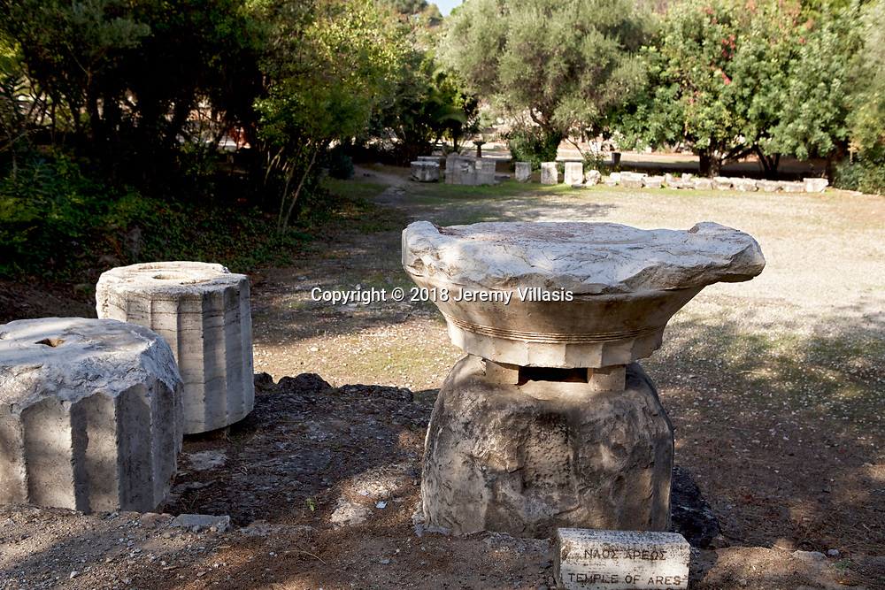 Architectural fragments of the Temple of Ares in the Ancient Agora of Athens.