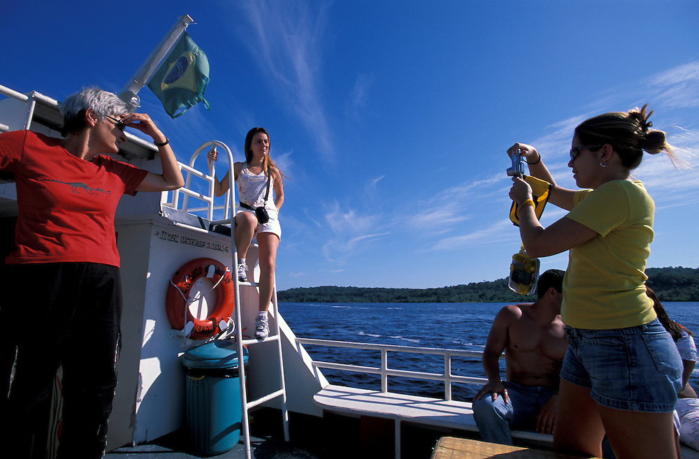 Boat tour on Rio Negro, upstream from Manaus, Amazonia, Brazil