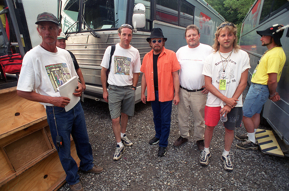 "Tom Crosslin, Rolland ""Rollie"" Rohm and Derrick DeCraene with Merle Haggard prior to a performance at Rainbow Farms in Vandalia, Michigan."