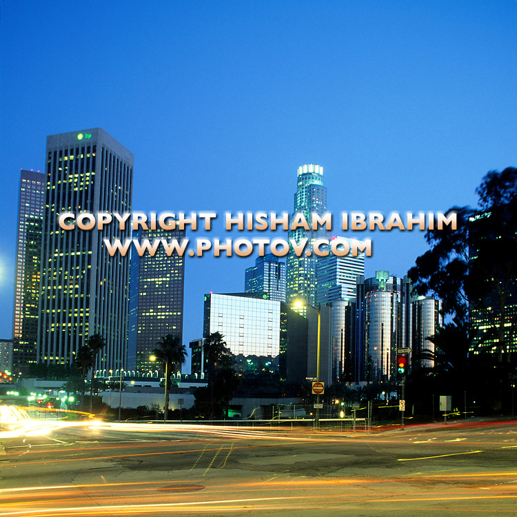 Los Angeles skyline, Downtown District at Dusk, California, USA.