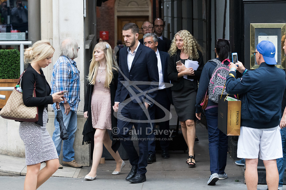 London, July 24th 2017. The parents of terminally ill baby Charlie Gard, Connie Yates and Chris Gard attend the High Court in London as a hearing continues on their legal battle to continue life support for their child who suffers from mitochondrial disease, at Great Ormond Street Hospital.