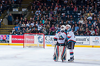 KELOWNA, CANADA - APRIL 25: Michael Herringer #30 and Lucas Johansen #7 of the Kelowna Rockets stand on the ice and watch the replay on the jumbotron as a goal is reviewed against the Seattle Thunderbirds on April 25, 2017 at Prospera Place in Kelowna, British Columbia, Canada.  (Photo by Marissa Baecker/Shoot the Breeze)  *** Local Caption ***