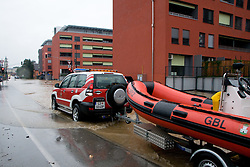 Firemen with boat going to rescue people stuck in the water after heavy rain on September 18, 2010, in Ljubljana, Slovenia. (Photo by Matic Klansek Velej / Sportida)