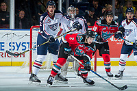 KELOWNA, CANADA - OCTOBER 27: Dakota Krebs #2 of the Tri-City Americans checks James Hilsendager #2 of the Kelowna Rockets in front of the net during second period on October 27, 2017 at Prospera Place in Kelowna, British Columbia, Canada.  (Photo by Marissa Baecker/Shoot the Breeze)  *** Local Caption ***