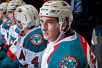 KELOWNA, CANADA - MARCH 10: James Hilsendager #2 of the Kelowna Rockets sits on the bench during second period against the Vancouver Giants on March 10, 2017 at Prospera Place in Kelowna, British Columbia, Canada.  (Photo by Marissa Baecker/Shoot the Breeze)  *** Local Caption ***