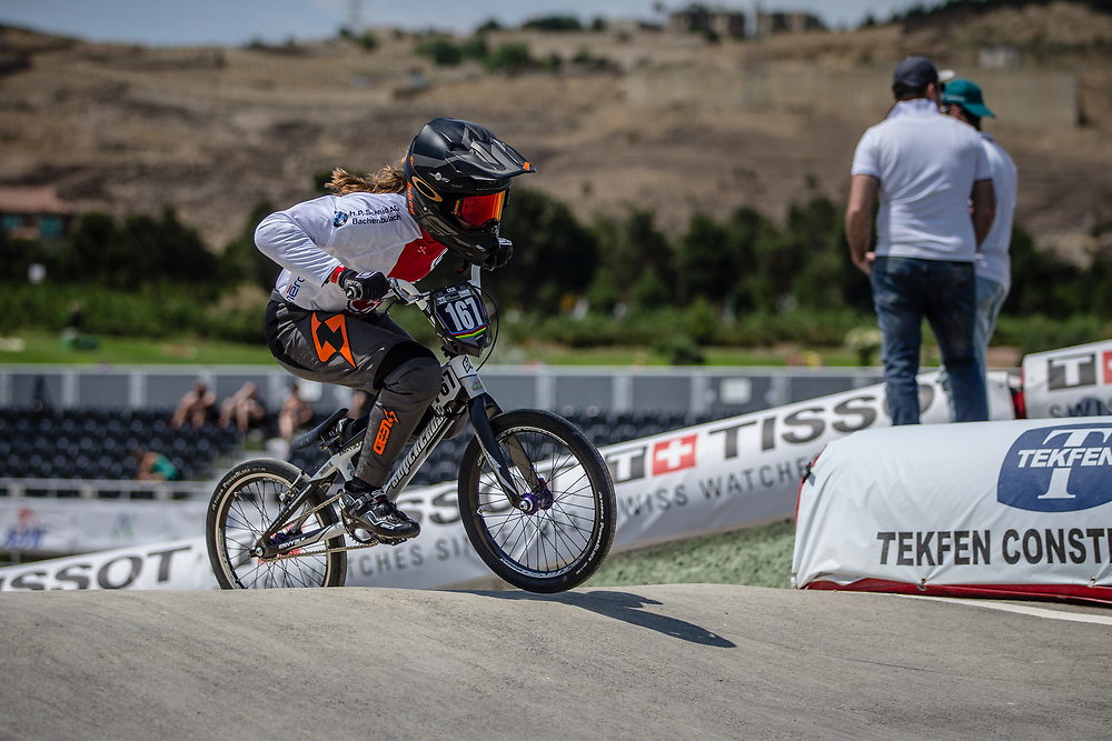 Women Junior #167 (DONZALLAZ Eloise) SUI at the 2018 UCI BMX World Championships in Baku, Azerbaijan.