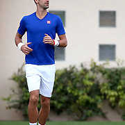 March 11, 2015, Indian Wells, California:<br /> Novak Djokovic warms up during a practice session at the Indian Wells Tennis Garden in Indian Wells, California Wednesday, March 11, 2015.<br /> (Photo by Billie Weiss/BNP Paribas Open)