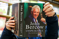 © Licensed to London News Pictures. 07/02/2020. London, UK. A member of public reads the former Speaker of the House of Commons, John Bercow's autobiography titled 'Unspeakable' in Waterstones in central London. Photo credit: Dinendra Haria/LNP