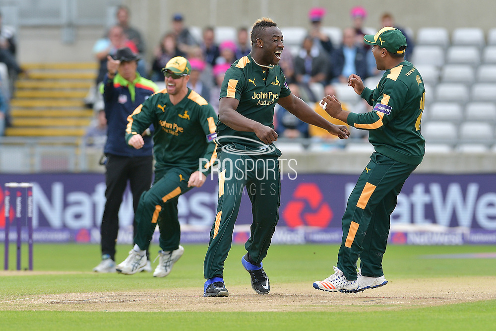 Andre Russell,Samit Patel and Dan Christian celebrate the wicket of Richard Levi (not shown) during the NatWest T20 Finals Day 2016 match between Nottinghamshire County Cricket Club and Northamptonshire County Cricket Club at Edgbaston, Birmingham, United Kingdom on 20 August 2016. Photo by Simon Trafford.