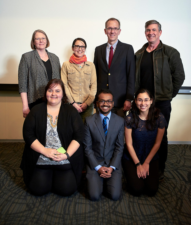 The winners and judges of the 3MT competition from left to right: Elizabeth P. Sayrs, Cassandra Thompson, Kelee Riesbeck, Sharif Wahab, Joseph C. Shields, Silvana Duran Ortiz and Steve Patterson.