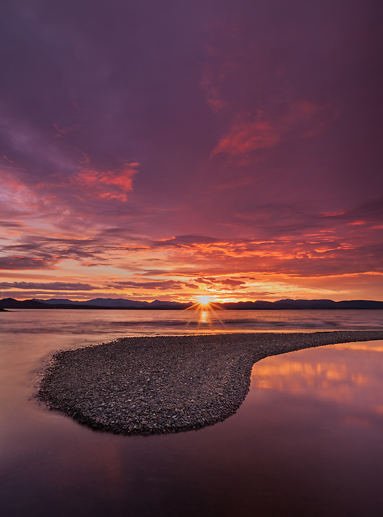 Sunset over the Adirondacks and Lake Champlain, Charlotte, Vermont