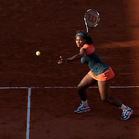 30 May 2009: Serena Williams of USA prepares a forehand during the Women's Third Round match on day seven of the French Open at Roland Garros in Paris, France.
