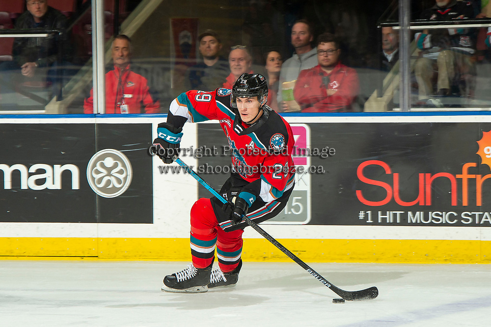 KELOWNA, BC - OCTOBER 12: Nolan Foote #29 of the Kelowna Rockets skates with the puck against the Kamloops Blazers at Prospera Place on October 12, 2019 in Kelowna, Canada. Foote was selected by the Tampa Bay Lightning in the 2019 NHL entry draft. (Photo by Marissa Baecker/Shoot the Breeze)