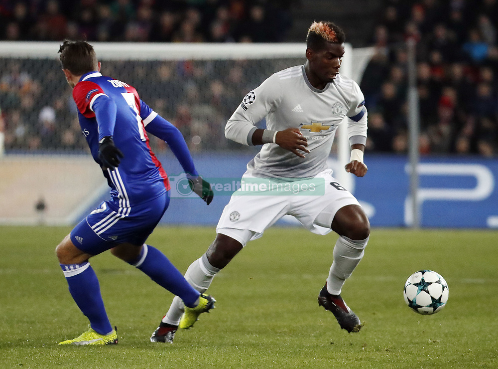 Manchester United Paul Pogba and Basel's Luca Zuffi during the UEFA Champions League group A match between Basel and Manchester United in Basel, Switzerland, November 22, 2017. Basel won 1-0. (Credit Image: © Ruben Sprich/Xinhua via ZUMA Wire)