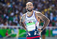 James Ellington of Great Britain during Men's 100m semi-final on day eight of the XXXI 2016 Olympic Summer Games in Rio de Janeiro, Brazil.<br /> Picture by EXPA Pictures/Focus Images Ltd 07814482222<br /> 13/08/2016<br /> *** UK & IRELAND ONLY ***<br /> <br /> EXPA-GRO-160814-5266.jpg