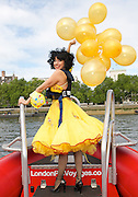 Meow Meow <br /> in London prior to the opening of her new show MEOW MEOW in FELINE INTIMATE <br /> publicity photocall 12th May 2014 <br /> London Wonderground, Southbank, London, Great Britain on a London RIB Voyages speedboat on the River Thames outside Parliament. <br /> International Singing Sensation and purr-fect post-post-modern showgirl MEOW MEOW is back in London for three weeks only, 20th May &ndash; 8th June.<br /> <br /> Photograph by Elliott Franks