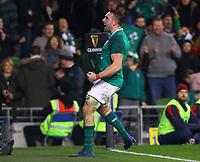 Rugby Union - 2017 Guinness Series (Autumn Internationals) - Ireland vs. Fiji<br /> <br /> Jack Conan (Ireland) celebrates scoring his try, at the Aviva Stadium.<br /> <br /> COLORSPORT/KEN SUTTON