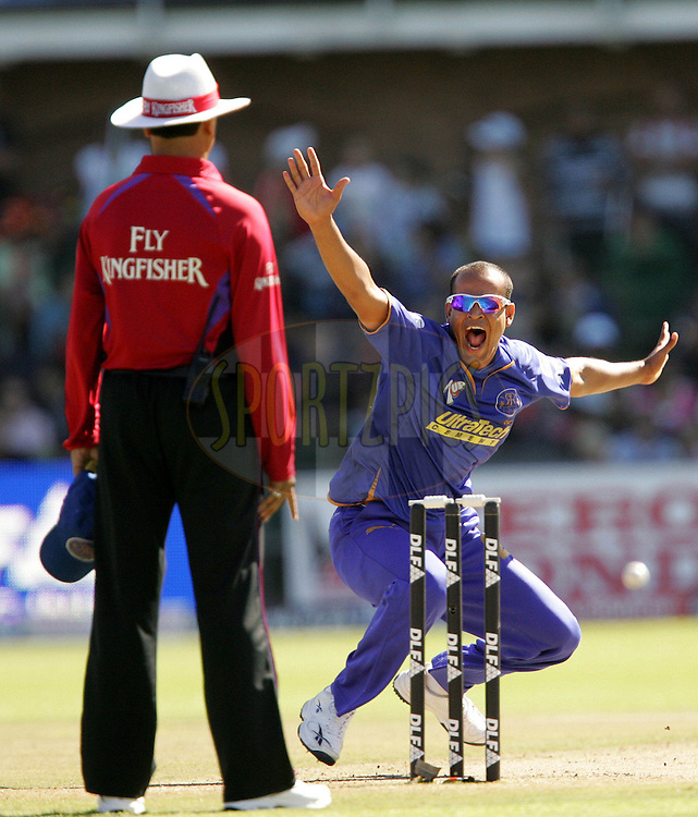 PORT ELIZABETH, SOUTH AFRICA - 02 May 2009. Yusuf Pathan appeals for the wicket of Herschelle Gibbs during the  IPL Season 2 match between the Deccan Chargers and the Rajatshan Royals held at St Georges Park in Port Elizabeth , South Africa..