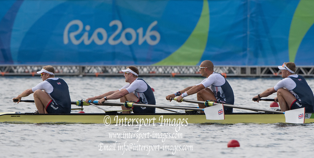 Rio de Janeiro. BRAZIL.  GBR M4-, Bow Alex GREGORY, Mohamed SBIHI, George NASH and Constantine LOULOUDIS. 2016 Olympic Rowing Regatta. Lagoa Stadium,<br /> Copacabana,  &ldquo;Olympic Summer Games&rdquo;<br /> Rodrigo de Freitas Lagoon, Lagoa. Local Time 09:46:10  Thursday  11/08/2016 <br /> [Mandatory Credit; Peter SPURRIER/Intersport Images]