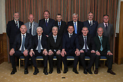 Top table at Dundee FC Hall of Fame 2017 dinner: Back row left to right: Bob Hynd (Dundee FC director), Ian Crighton (Dundee FC director), Alan Rough (speaker), Pat Liney (Club president), Peter Brown (speaker), Steve Martin (Dundee FC director), Jim Thomson (Dundee FC general manager). Front left to right): Mark Lawson great grandson of inductee Sailor Hunter, Alex Stuart (inductee), Thomson Allan (inductee), Rab' Douglas (inductee), Keith Wright (inductee), Brian Taylor (grandson of inductee Alec Troup) at Invercarse, Dundee, Photo: David Young<br /> <br />  - &copy; David Young - www.davidyoungphoto.co.uk - email: davidyoungphoto@gmail.com