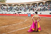Mexican Matador Arturo Macias enters the ring for his bullfight at the Plaza de Toros in San Miguel de Allende, Mexico.