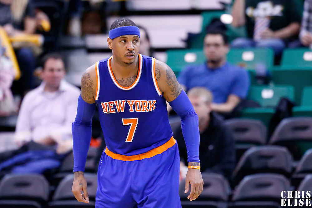 09 December 2015: New York Knicks forward Carmelo Anthony (7) is seen on defense during the Utah Jazz 106-85 victory over the New York Knicks, at the Vivint Smart Home Arena, Salt Lake City, Utah, USA.