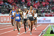 Ajee Wilson (USA) defeats Habitam Alemu (ETH) to win the women's 800m in 2:00.87 during the Bauhaus-Galan in a IAAF Diamond League meet at Stockholm Stadium in Stockholm, Sweden on Thursday, May 30, 2019. (Jiro Mochizuki/Image of Sport)