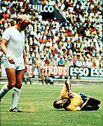 Pele is left in agony after a nasty foul by England's Francis Lee during Brazil's 1-0 victory. Estadio Jalisco, Guadalajara, Mexico, 2nd June 1970.