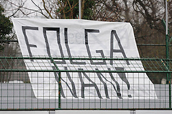 We have enough - a message of fans of Mura 05 during football match between ND Mura 05 and NK Maribor in 21th Round of Slovenian First League PrvaLiga NZS 2012/13 on December 2, 2012 in Murska Sobota, Slovenia. (Photo By Ales Cipot / Sportida)