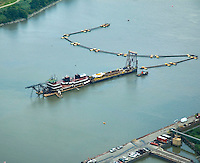 Aerial view of  Dredging at the Port of Wilmington, DE and Christiana River.